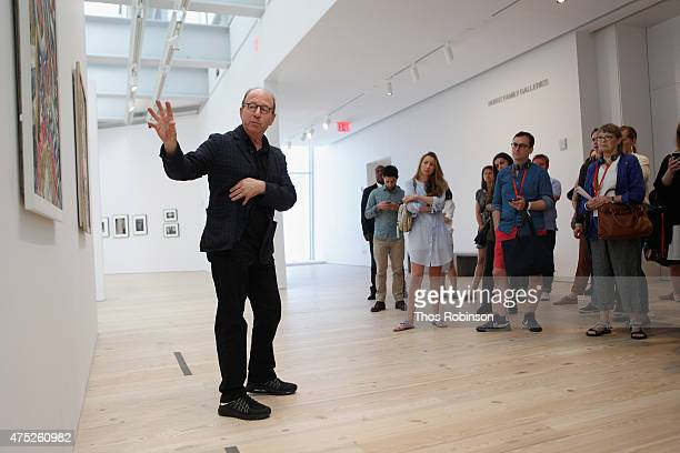 Art critic Jerry Saltz speaks to guests at the Vulture Festival Presents Jerry Saltz's Whitney Museum Tour at The Whitney Museum of American Art on...