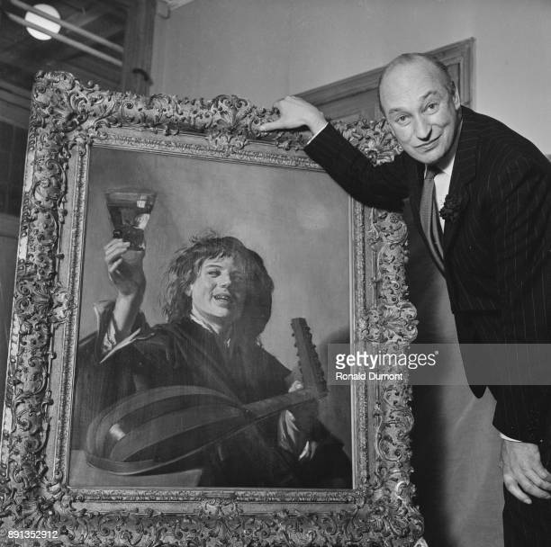 Art dealer Edward Speelman with 'Boy with a Glass and a Lute' by Dutch Golden Age painter Frans Hals UK 14th May 1963