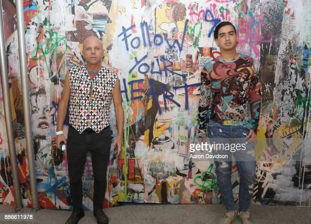 Art Dealer Poet Jimmy D Robinson and model Christian J Perez attend Art Miami VIP Kickoff at Art Miami Pavilion on December 5 2017 in Miami Florida