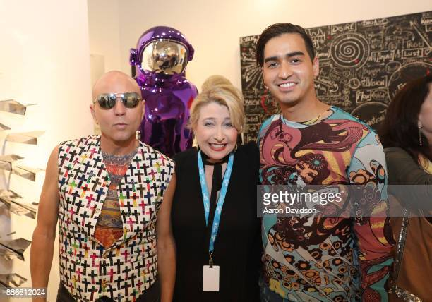 Art Dealer Poet Jimmy D Robinson Karen Tscherne and Model Christian J Perez attend Art Miami VIP Kickoff at Art Miami Pavilion on December 5 2017 in...