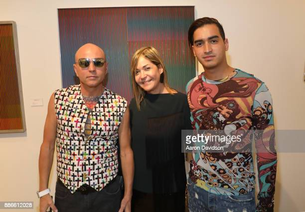 Art Dealer Poet Jimmy D Robinson Myrna Hobaica and Model Christian J Perez attend Art Miami VIP Kickoff at Art Miami Pavilion on December 5 2017 in...