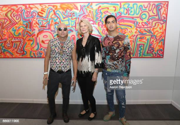 Art Dealer Poet Jimmy D Robinson Wendy Fritz and Model Christian J Perez attend Art Miami VIP Kickoff at Art Miami Pavilion on December 5 2017 in...