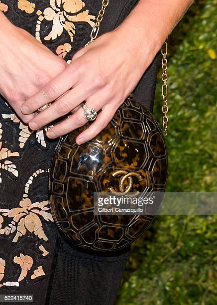 Art dealer Sarah Hoover handbag detail attends the 11th Annual Chanel Tribeca Film Festival Artists Dinner at Balthazar on April 18 2016 in New York...