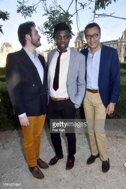 Art Dealer/pianist Valentin Cavaille de Nogaret Jean Barthelemy Bokassa and Michel Schaar attend Valentin Cavaillé de Nogaret Birthday Party at...