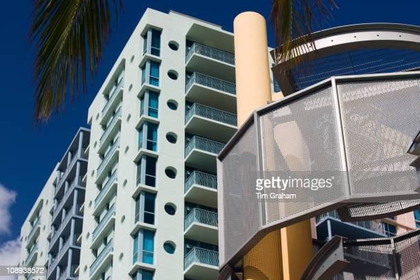 Art deco architecture in pastel colors high rise apartment blocks Ocean Drive Miami South Beach Florida USA