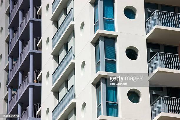 Art deco architecture in pastel colors high rise apartment blocks Ocean Drive Miami South Beach Florida USA
