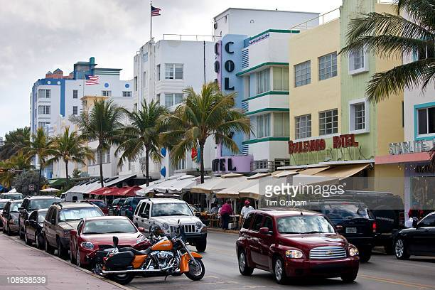 Art Deco architecture Starlight Boulevard and Colony Hotels in Ocean Drive at Miami South Beach Florida USA