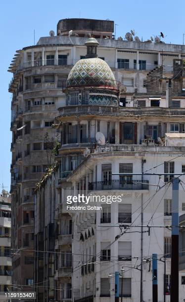Art deco building and ancient french quarter in Casablanca on June 21, 2019 in Casablanca, Morocco.