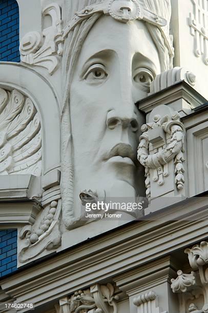 STATES RIGA RIGA LATVIA LATVIA Art Deco building detail Architectural detail of building in the Art Nouveau district of Riga