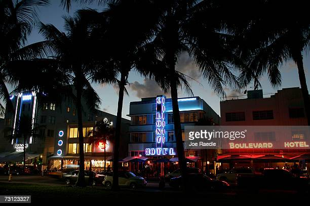 Art Deco buildings grace the famous Ocean Drive that many Super Bowl XLI tourists will be visiting as seen on January 26 2007 in Miami Beach Florida...