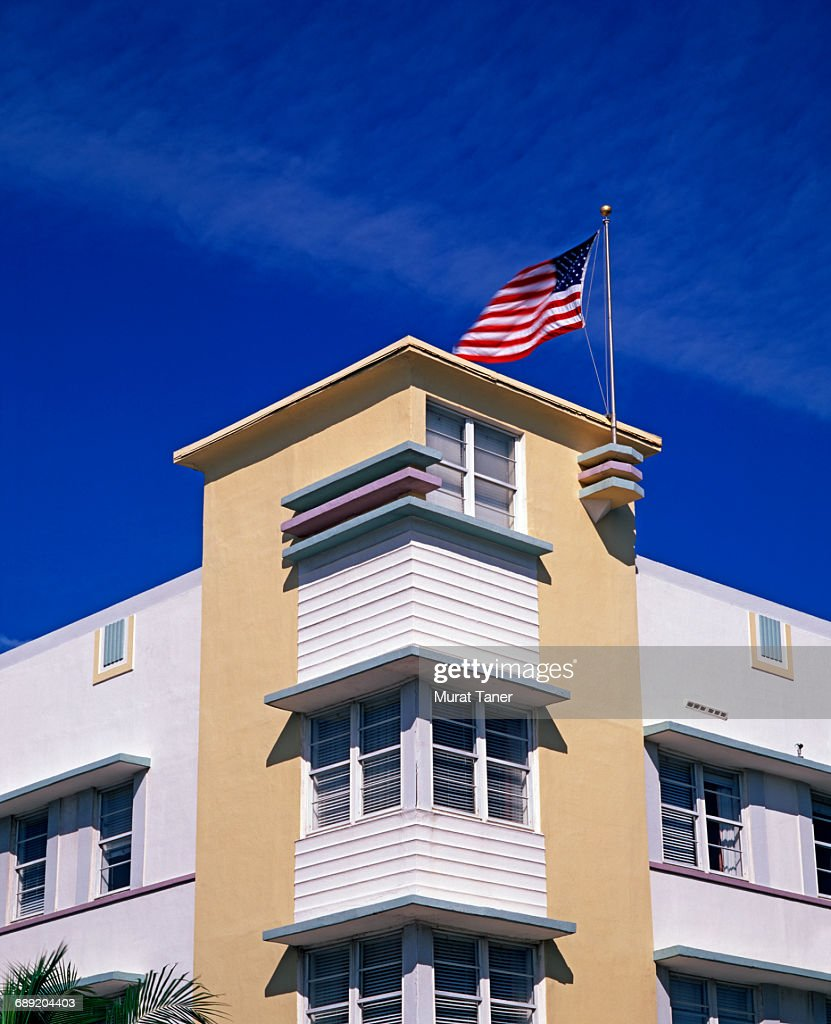 Art Deco buildings on Ocean Drive : Stock Photo