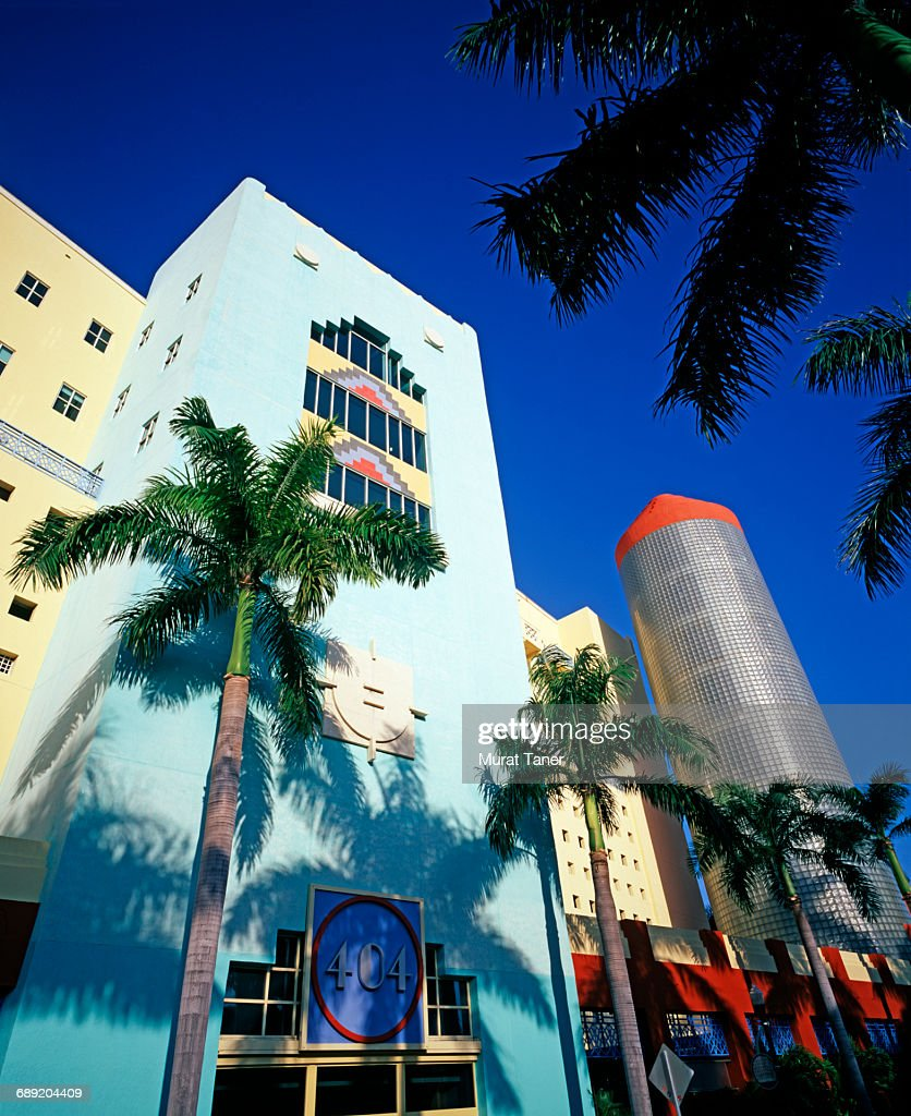 Art Deco buildings on Ocean Drive : Stock Photo
