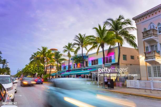 Art Deco district at Ocean Drive, South Beach, Miami, USA.