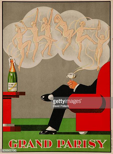 Art deco French poster of stylish man watching six nude muses emanating from the Champagne's bubblesca 1930s