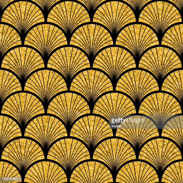 art deco gold black seamless pattern - art deco stock pictures, royalty-free photos & images