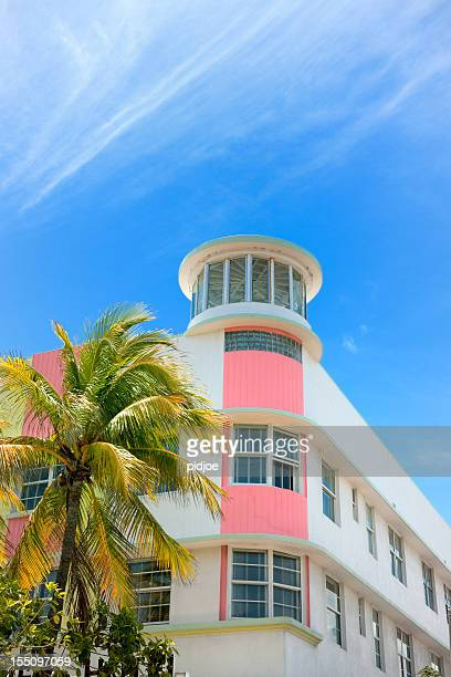 Art Deco hotel facade in Miami Florida USA