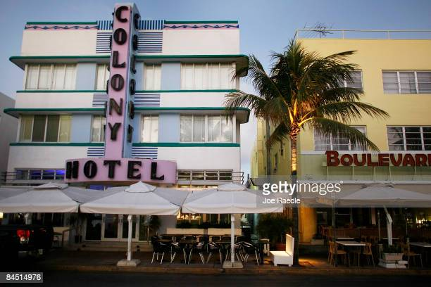 Art Deco hotels are seen on the famed Ocean Drive strip on January 28 2009 in Miami Beach Florida As the economic downturn continues the number of...