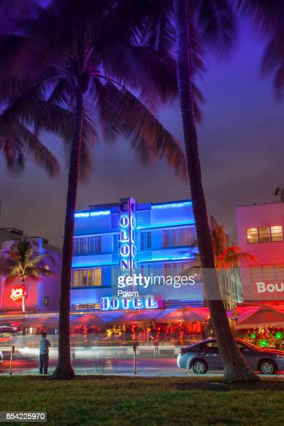 art deco hotels at night on ocean drive in south beach miami florida usa - miami beach stock pictures, royalty-free photos & images