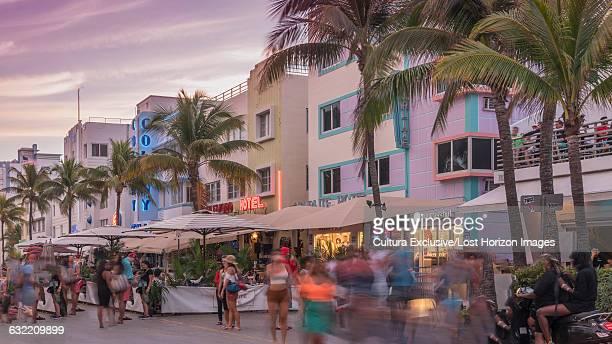 Art Deco hotels in Ocean Drive, Miami Beach, Florida, USA