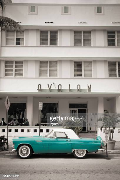 art deco hotels on ocean drive in south beach miami florida usa - art deco stock pictures, royalty-free photos & images