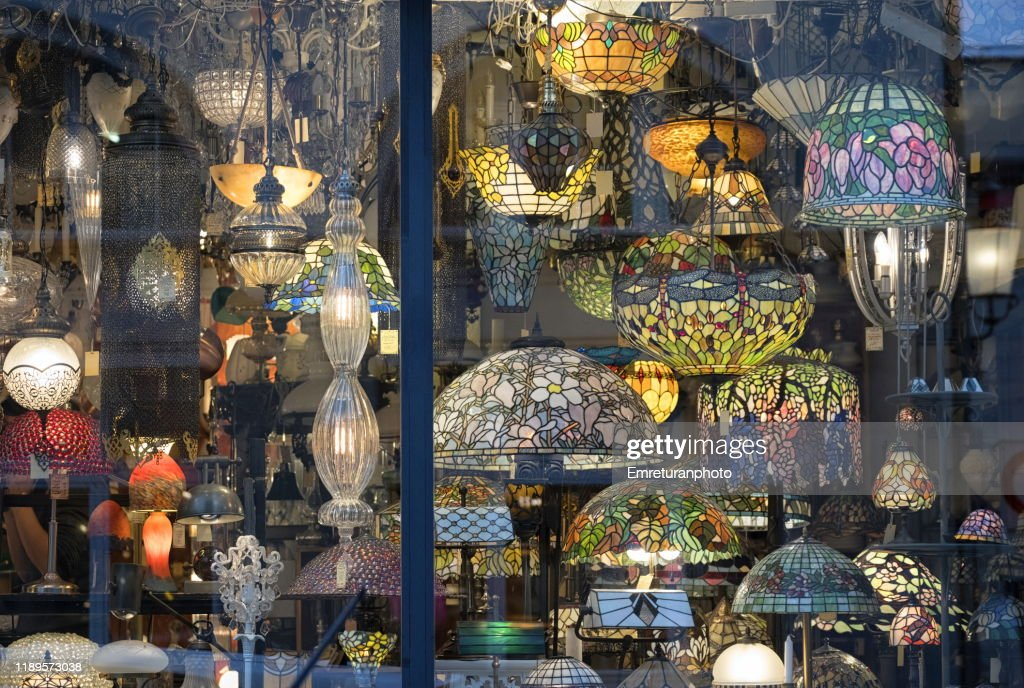 Art deco lamps on a store window in Zurich. : Stock Photo