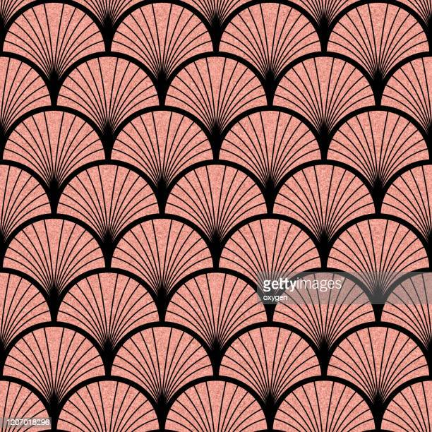 art deco pink rose black seamless pattern - art deco stock pictures, royalty-free photos & images