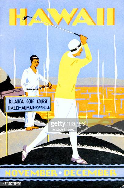 Art Deco poster for golfing holidays in Hawaii c1930s