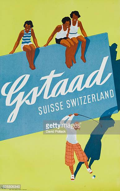 Art deco poster for Gstaad Switzerland showing 3 bathing beauties watching a stylish man swing a golf club ca 1930s