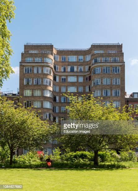 Art deco residential building Florin Court aka Whitehaven Mansions residence of Hercule Poirot Charterhouse Square London England UK