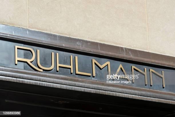 Art Deco sign of Brasserie Ruhlmann at International Building of Rockefeller Center in New York, USA.