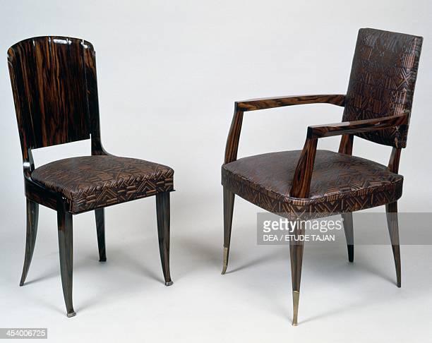 Art Deco style armchair and chair 19281930 by JacquesEmile Ruhlmann Macassar ebony France 20th century