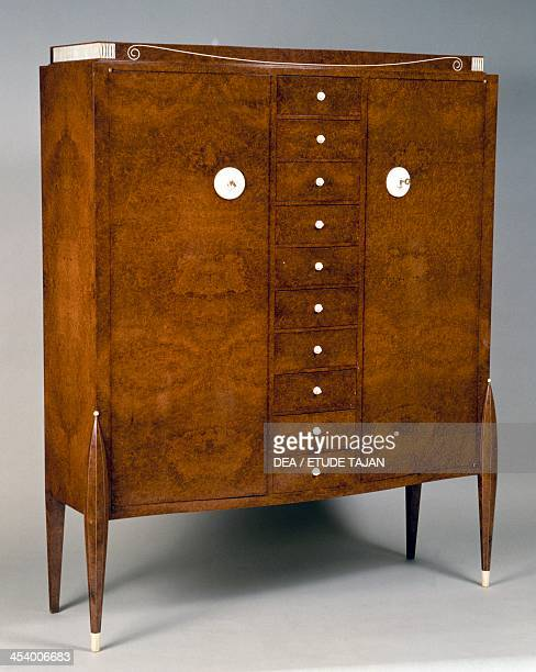 Art Deco style chiffonier with drawers by JacquesEmile Ruhlmann amaranth France 20th century