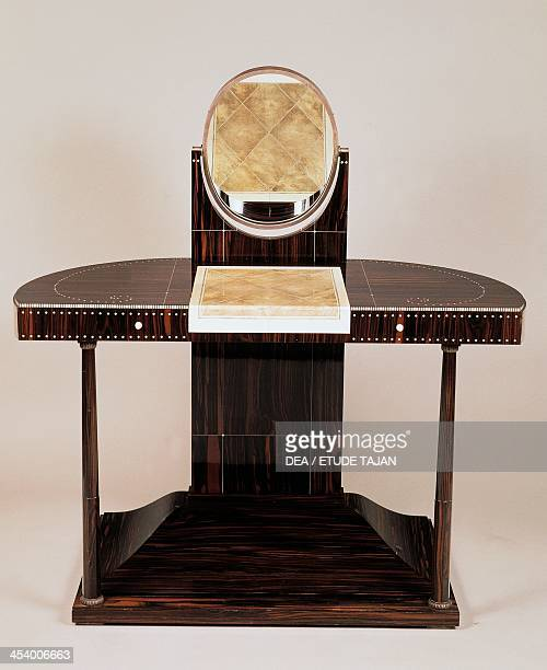 Art Deco style dressing table with columns by JacquesEmile Ruhlmann Macassar ebony France 20th century