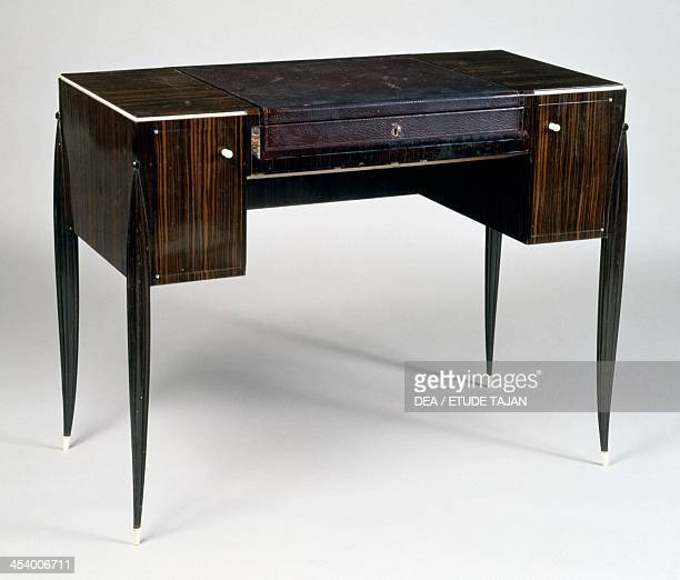 Art Deco style ladies writing desk stamped by JacquesEmile Ruhlmann Macassar ebony France 20th century