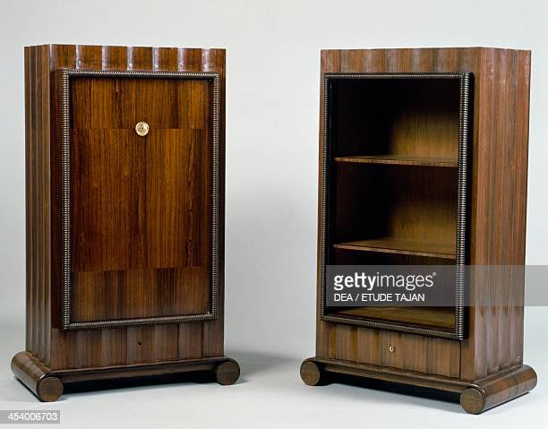 Art Deco style mini bar and bookcase Stelcavgo model 1928 and 1927 respectively by JacquesEmile Ruhlmann Atelier B Rio rosewood veneer France 20th...
