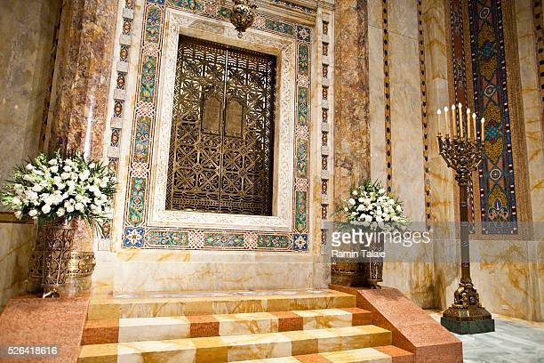 Art deco style mosaics designed by Hildreth Mei��re cover the Torah Ark and the Bimah at the Temple EmanuEl in New York City on Thursday January 26...