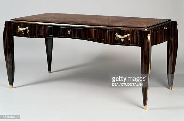 Art Deco style writing desk Ambassade 25 model by JacquesEmile Ruhlmann Atelier B furniture stamp Macassar ebony veneer France 20th century