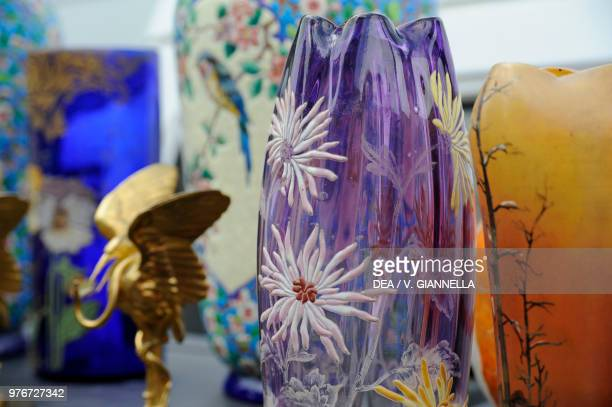 Art Decostyle glass vases displayed in the Braderie in Lille the largest flea market in Europe France