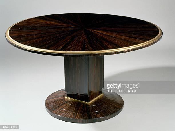 Art Decostyle gueridon table Ducharne model by JacquesEmile Ruhlmann Atelier A furniture stamp Macassar ebony France 20th century