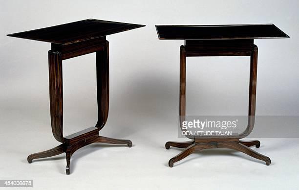 Art Decostyle tables Bloch model 19201940 by JacquesEmile Ruhlmann Atelier B furniture stamp Macassar ebony France 20th century