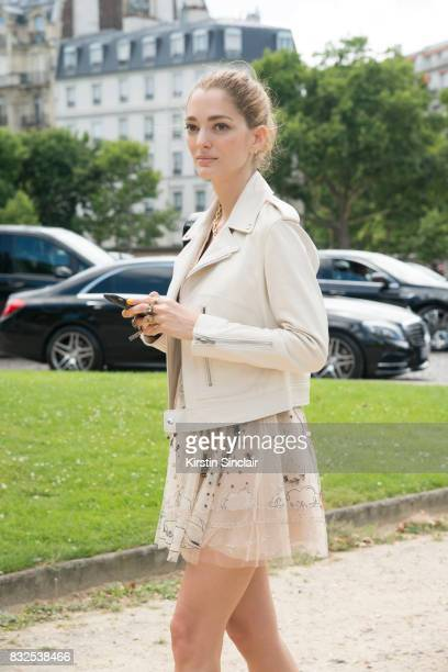 PARIS FRANCE JULY 3 Art director and Fashion consultant Sofia Sanchez de Betak wears a Dior jacket and dress day 2 of Paris Haute Couture Fashion...