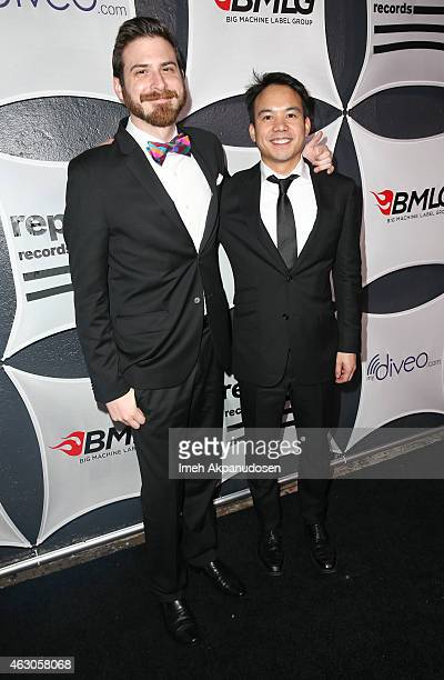 Art director Joe Spix and a guest attend the Republic Records / Big Machine Label Group Grammy Celebration on February 8 2015 in Hollywood California