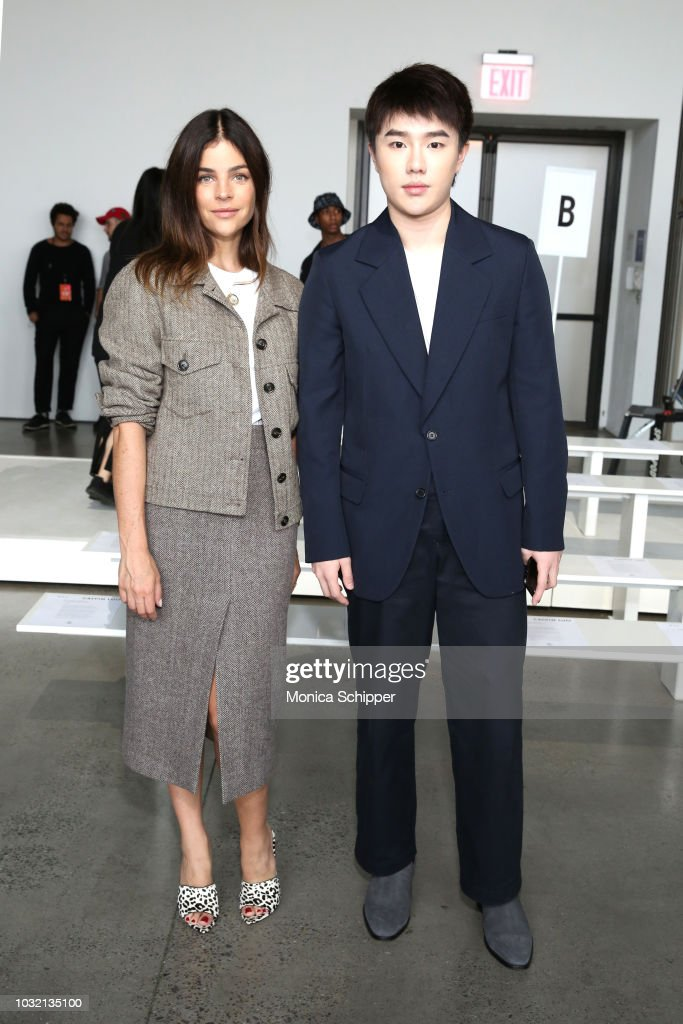 Art director Julia Restoin Roitfeld (L) and designer Calvin Luo pose at the Calvin Luo front Row during New York Fashion Week: The Shows at Gallery I at Spring Studios on September 12, 2018 in New York City.