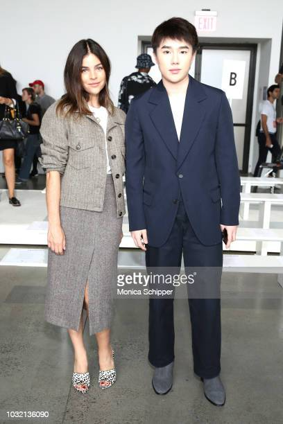 Art director Julia Restoin Roitfeld and designer Calvin Luo pose at the Calvin Luo front Row during New York Fashion Week The Shows at Gallery I at...