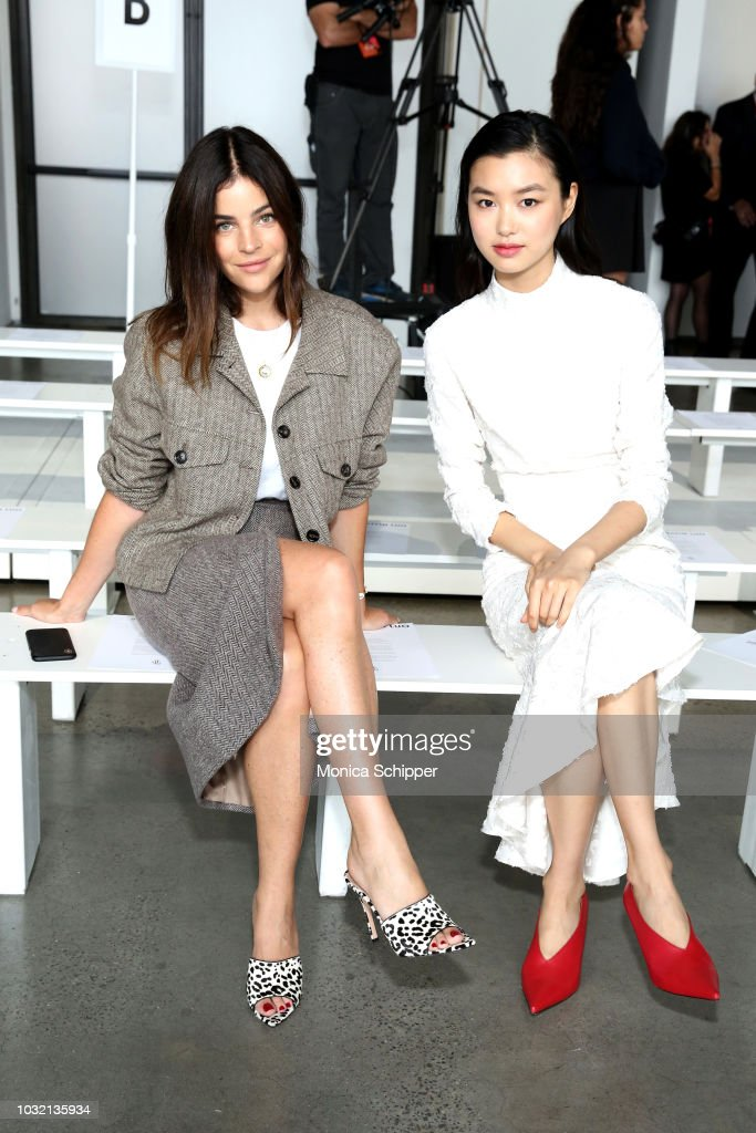 Art director Julia Restoin Roitfeld (L) and model Estelle Chen attend the Calvin Luo front Row during New York Fashion Week: The Shows at Gallery I at Spring Studios on September 12, 2018 in New York City.