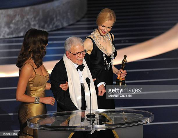 Art director Robert Boyle and actress Nicole Kidman onstage during the 80th Annual Academy Awards at the Kodak Theatre on February 24 2008 in Los...