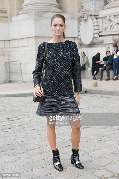 Art Director Sofia Sanchez Barrenechea wears all Chanel on day 8 of Paris Fashion Week Spring/Summer 2014 Paris October 01 2013 in Paris France