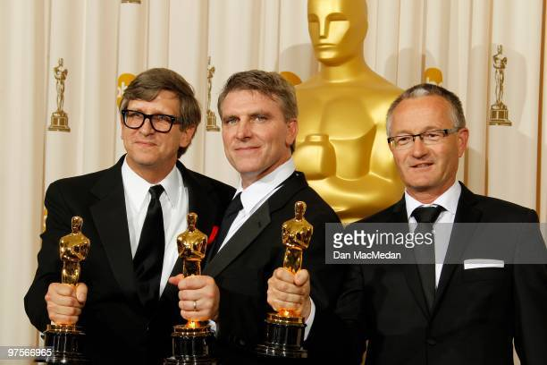 Art directors Rick Carter Robert Stromberg and Kim Sinclair winners of Best Art Direction for 'Avatar' pose in the press room at the 82nd Annual...