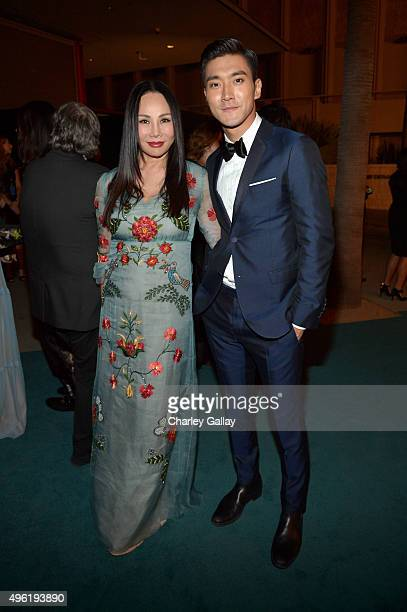 Art Film Gala cochair and LACMA Trustee Eva Chow wearing Gucci and singer Choi Siwon attend LACMA 2015 ArtFilm Gala Honoring James Turrell and...