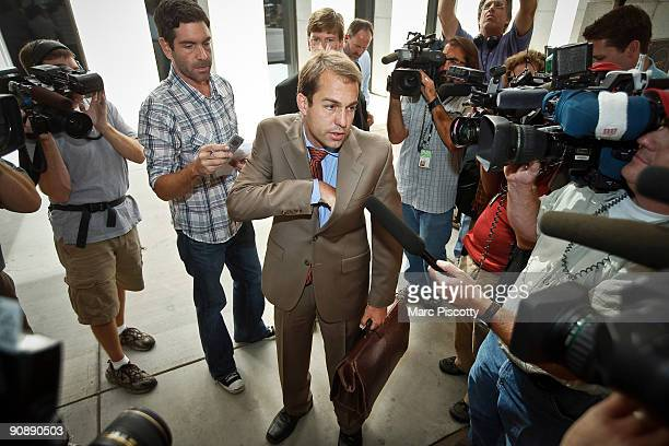 Art Folsom the attorney for terror suspect Najibullah Zazi speaks with the media after arriving at the Byron G Rogers Federal Building September 17...